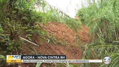 Deslizamento de terra atinge duas casas no bairro Nova Cintra, em Belo Horizonte - Uma homem ficou ferido depois da queda de uma parede.
