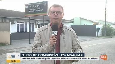 Servidor da Prefeitura de Araquari é preso por furtar combustível do município - Servidor da Prefeitura de Araquari é preso por furtar combustível do município