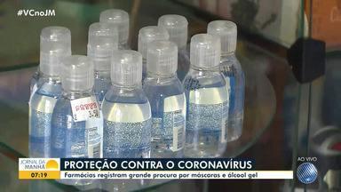 Suspeita de casos de coronavírus causa preocupação entre os baianos - Em várias farmácias da capital baiana, o estoque de álcool em gel já acabou. Item é importante na higienização das mãos.