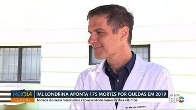 IML de Londrina aponte 175 mortes por quedas em 2019 - Idosos do sexo masculino representam maioria das vítimas.