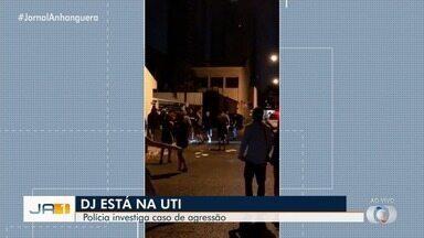 DJ segue internado após ser espacando na saída de festa de carnaval, em Goiânia - Vídeo mostra ele sendo atingido com vários chutes e socos.