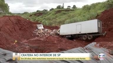 Cratera em rodovia no interior de SP provoca acidentes - Cratera surgiu depois do temporal do dia 10 de fevereiro em Botucatu. Dois motoristas morreram em acidentes no local e um está ferido em estado grave.