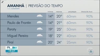 Clima deve ser instável no Sul do RJ neste domingo - Previsão é de muita nebulosidade, com chuva forte e volumosa.