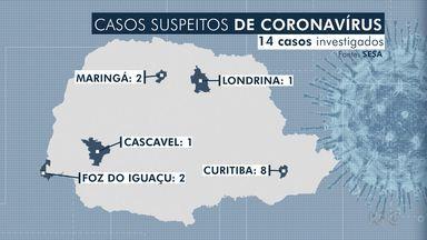 Sobe para 14 o número de casos suspeitos de coronavírus no Paraná - A Secretaria Estadual de Saúde deve receber kits para o diagnóstico da doença. Os materiais serão enviados pelo Ministério da Saúde.