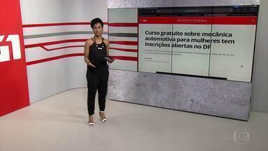 G1 no BDDF: Curso gratuito de mecânica para mulheres tem inscrições abertas na UnB - Veja também: Atriz Suzana Pires participa de evento voltado para o Dia Internacional da Mulher.