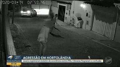 Câmeras de segurança registram agressão de policiais a jovens em Hortolândia - Imagens foram gravadas na madrugada de sábado (14). Secretaria de Segurança Púlbica (SSP) diz que apura o caso para tomar as medidas cabíveis, e que não compactua com o desvio de conduta dos policiais.