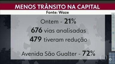 Isolamento voluntário reduz trânsito na capital - Ontem a queda foi de 21% na comparação da média das outras segundas de março