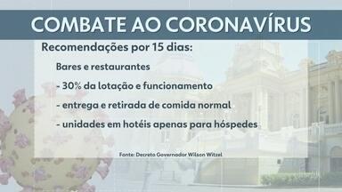 Decreto de Witzel restringe ainda mais circulação de pessoas - Bares e Restaurantes deverão diminuir para 1/3 do atendimento e horário de funcionamento, priorizando entregas.