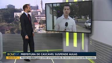 Prefeitura de Cascavel suspende as aulas - Novas medidas para conter a transmissão do coronavírus estão sendo tomadas.