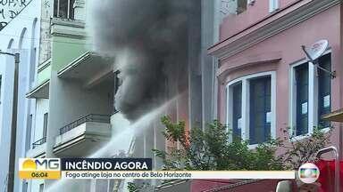Incêndio de grandes proporções atinge comércio no Centro de Belo Horizonte - Ocorrência começou na madrugada desta quinta-feira (19).