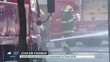 Incêndio atinge loja de produtos de beleza em BH - Comércio, que fica no Centro da cidade, ficou destruído.