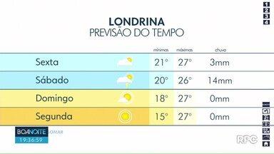 Previsão é de chuva em Londrina nesta sexta-feira (20) - A temperatura máxima pode chegar aos 27º.