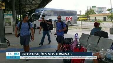 Confira o que mudou na rotina do Norte Fluminense por conta do coronavírus - Campos tem voos cancelados, menos ônibus e medidas insuficientes nas plataformas de petróleo.