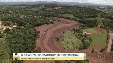 Após 421 dias de trabalho, buscas em Brumadinho são suspensas por conta do coronavírus - Barragem da Vale se rompeu, deixando 259 mortos e 11 desaparecidos. Segundo bombeiros, suspensão foi determinada pelo governo de MG até que seja revogado estado de emergência.