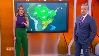 Confira a previsão do tempo para esta terça-feira (24) - Chove em Manaus. o tempo fica firme no Centro-Sul do país.