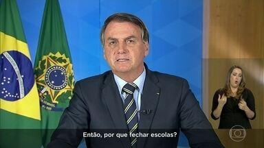 Bolsonaro contraria especialistas e autoridades e pede fim do 'confinamento em massa' - Confira os principais trechos do pronunciamento de Jair Bolsonaro e o que vêm afirmando autoridades, inclusive do próprio governo do presidente.