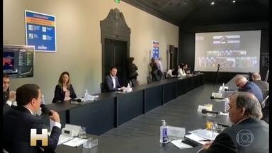 Coronavírus: Governadores do Sudeste se reúnem com Bolsonaro - Em encontro virtual para discutir crise do coronavírus, coube ao ministro da Saúde, Luiz Mandetta, pedir 'calma e equilíbrio'.