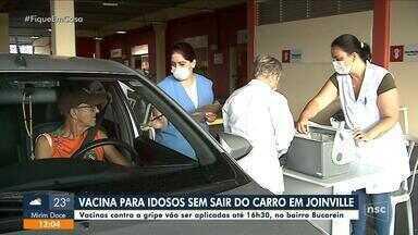 Campanha de vacina é realizada em sistema 'drive-thru' em Joinville - Campanha de vacina é realizada em sistema 'drive-thru' em Joinville
