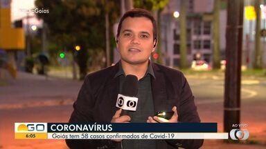Goiás registra 58 casos confirmados e uma morte por coronavírus - Há pessoas com Covid-19 em 12 cidades goianas. São 1.653 casos suspeitos no estado.