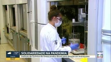 Instituto de Química da Unesp vai produzir álcool para doação em Araraquara - Está difícil encontrar álcool gel nos últimos dias. Por conta disso, o Instituto de Química da Unesp vai produzir álcool e doar em Araraquara.