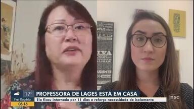 Professora volta para casa após ficar internada por 11 dias em Lages - Professora volta para casa após ficar internada por 11 dias em Lages