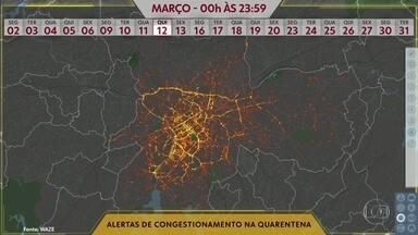 As mudanças no trânsito por causa da quarentena - Mapa de calor mostra a queda no número de alertas.