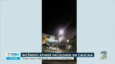 Incêndio atinge laboratório de enfermagem de faculdade em Caucaia - Saiba mais em g1.com.br/ce