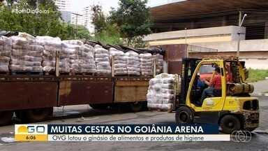 OVG arrecada cestas básicas para doar a famílias carentes em Goiás - Produtos lotaram ginásio Goiânia Arena.