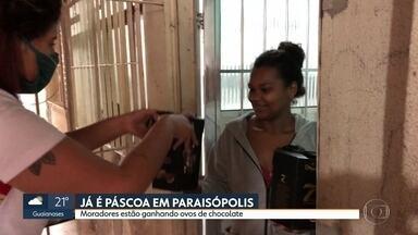 Já é páscoa em Paraisópolis - Moradores vão receber 11 mil ovos de chocolate doados por empresas e pessoas comuns