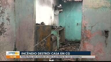 Incêndio atinge casa em Campina Grande - Família está desabrigada.