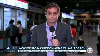 Movimento nas rodoviárias cai mais de 90% no fim de semana da Páscoa - As bilheterias do Terminal Jabaquara estão abertas, mas quase não há procura por passagens.