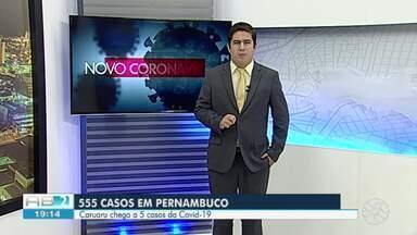 Em uma semana, número de pacientes com Covid-19 cresce 423% em PE e estado contabiliza 555 - Pernambuco contabiliza 56 mortes de pessoas com a Covid-19. O número de pacientes recuperados subiu para 49.