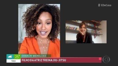 Repórter Juliana Sana mostra rotina em casa - Camila Ferezin treina a equipe Brasileira