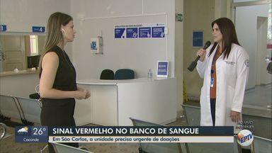 Banco de sangue da Santa Casa de São Carlos precisa de doações com urgência - Estoques de sangue tipo A e B negativos caem 80% no banco da Santa Casa de São Carlos. Pandemia de coronavírus derrubou doações.