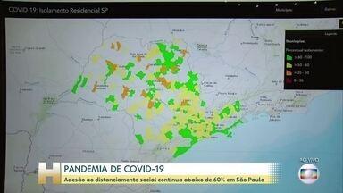Adesão ao distanciamento social continua abaixo de 60% em São Paulo - O distanciamento social é apontado por especialistas como a melhor estratégia para diminuir o contágio do novo coronavírus e assim evitar um colapso do sistema de saúde.