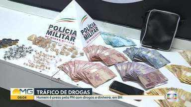 Homem é preso suspeito de tráfico de drogas em BH - Com ele, a Polícia Militar encontrou drogas e dinheiro.