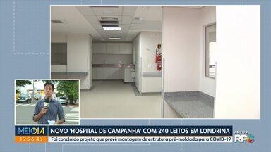 Londrina tem novo hospital de campanha com 240 leitos - Foi concluído projeto que prevê montagem de estrutura pré-moldada para tratamento de pacientes com a Covid-19.