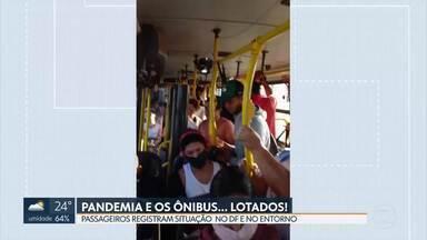 Passageiros sofrem com ônibus lotados durante a pandemia - Vídeos mostram situação do transporte no DF e no Entorno. ANTT afirma que fiscaliza e que problemas são pontuais.
