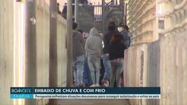 Cerca de 50 pessoas aguardam na Ponte da Amizade para entrar no Paraguai - São paraguaios que moravam no Brasil e agora querem voltar ao país onde viviam.