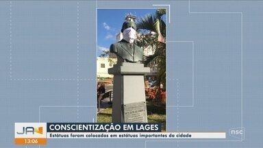 Bustos recebem máscaras em campanhas de conscientização em cidades de SC - Bustos recebem máscaras em campanhas de conscientização em cidades de SC