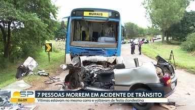 Sete mortos em acidentema Região de Ribeirão Preto - As vítimas estavam no mesmo carro e voltavam de uma festa clandestina.