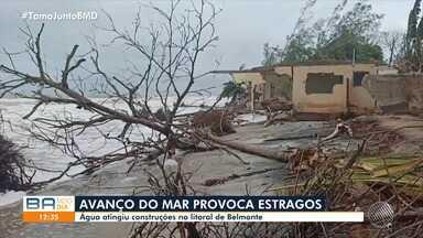 Avanço do mar provoca estragos e água atinge construções no litoral de Belmonte - Moradores tiveram prejuízos nesta segunda-feira (20).