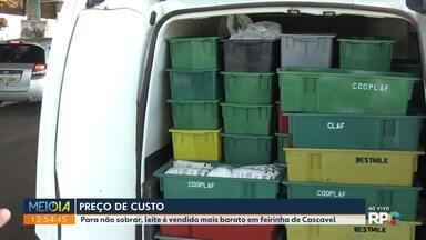 Leite é vendido a preço de custo em Cascavel - Feirantes vendem leite mais barato para não sobrar produto.