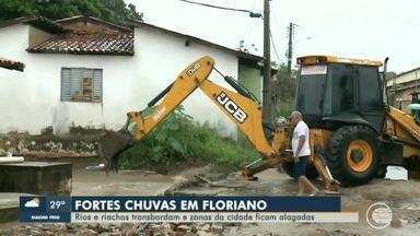 Rio e riachos transbordam no Piauí e deixam prejuízos para população de Floriano - Rio e riachos transbordam no Piauí e deixam prejuízos para população de Floriano