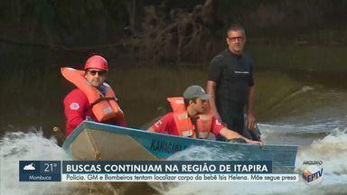 Equipes fazem buscas pelo corpo da bebê Ísis Helena, em Itapira - Mãe da criança, Jennifer Natali Pedro confessou à Polícia Civil que jogou o corpo da filha no Rio do Peixe.