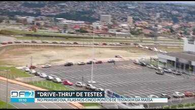 Começa testagem em massa para a Covid-19 no DF - No primeiro dia do drive-thru de testes, muitas filas nos cinco pontos instalados em Águas Claras e no Plano Piloto.