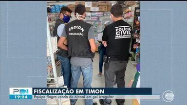 Equipe de fiscalização flagra venda de álcool em gel irregular em Timon - Equipe de fiscalização flagra venda de álcool em gel irregular em Timon