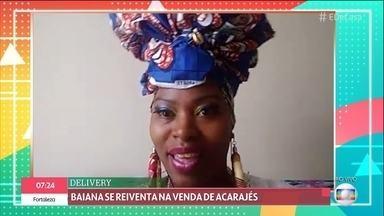Baiana planeja vender acarajé por delivery durante a pandemia - Ana é baiana de acarajé e decidiu disponibilizar seus produtos em plataformas de entregas para superar as dificuldades durante o isolamento social