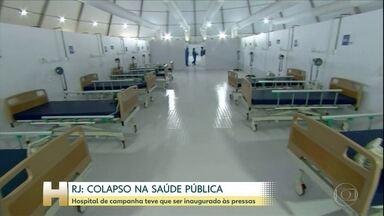 Hospital de campanha é inaugurado antes do prazo para aliviar a rede pública no RJ - O hospital estava previsto para começar a funcionar só na semana que vem. Ao todo serão 200 leitos. A metade será de unidades de terapia intensiva.