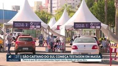 São Caetano do Sul começa testagem em massa - Plano é que 20 mil comerciantes façam teste rápido em drive-thru.